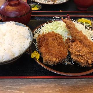 海老 牡蠣 メンチ定食(メンチをコロッケに変更)(とんかつ 麻釉 伊勢原)