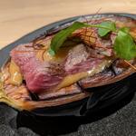 丸茄子と神戸牛の味噌焼き