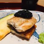 鹿児島鰻と宮崎キャビアと泉州水茄子のマリアージュ(鮨 料理 一高)