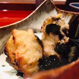 三重県産岩牡蠣天麩羅の炭火焼w/吉野葛と有明海苔の餡(鮨 料理 一高)