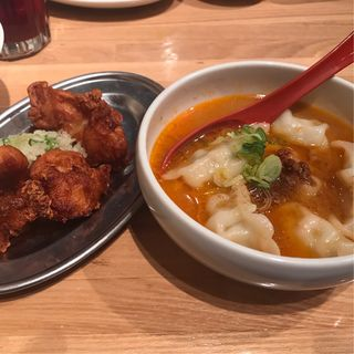 胡麻担々水餃子&唐揚げ定食(ぎょうざいってん 神田本店 )