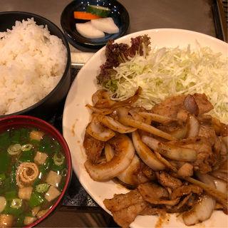 豚生姜焼き定食(おこのみ焼き 花茶栗 )