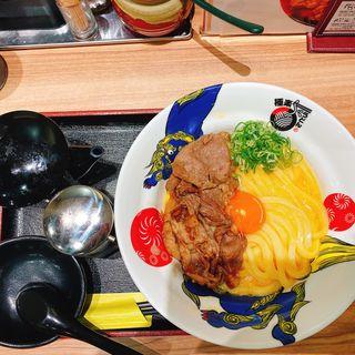 士幌黒牛の炙り肉釜玉うどん(極楽うどん TKU ルクア大阪店)