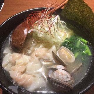 限定浅利と春菊の塩ワンタン麺ワンタン増(醤油ワンタン麺 かげおか)