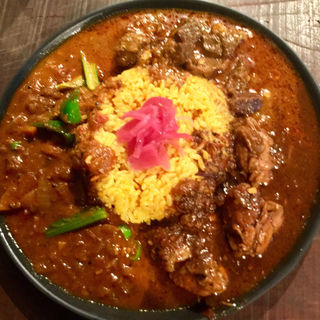三種盛り  ぶっかけ ・野菜カレー ・北インドのマトン(辛口) ・チキン(麦酒酒場 幸民)