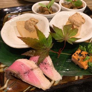 河内鴨の鉄板焼と天ぷら蕎麦のコース 先付(藤乃 )