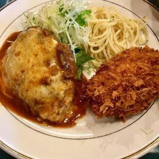 チーズハンバーグと帆立クリームコロッケ(キッチンジロー ニュー新橋店)