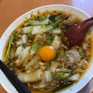 彩華ラーメン、生卵(彩華ラーメン 本店)