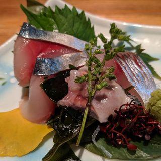 産直鮮魚三種盛り(産直青魚専門 池袋 御厨)