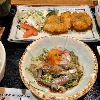 平アジのタタキとハモフライ(月山 )