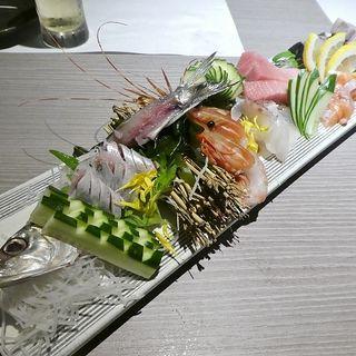 名物!鮮魚のお造り6種盛り(蕎麦・鮮魚 個室居酒屋 村瀬 本町本店)