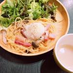 豆乳クリームカルボナーラ  ドリンク&スープセット