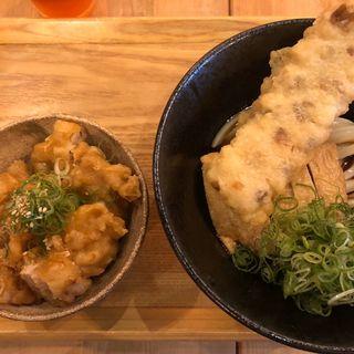 鶏天丼と冷やしうどん(本町製麺所 ゆ)