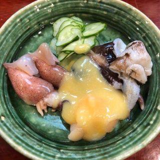 鳥貝、小柱、蛍烏賊の酢味噌和え(鮨 一條 )