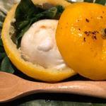 虎河豚の白子、葉わさび、新玉ねぎの西京庵柚子釜焼き