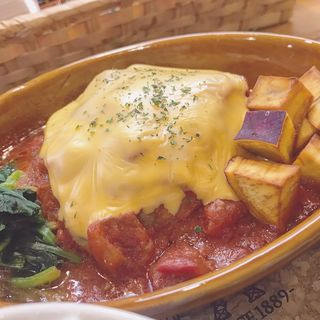 トマトとチーズの煮込みハンバーグ(ふらっとカフェ)