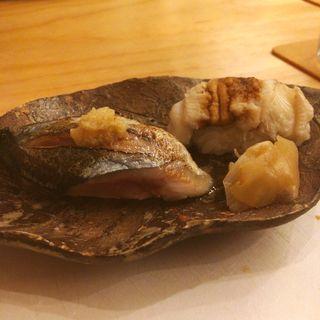 秋刀魚と穴子の握り(みな都)
