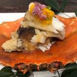 渡り蟹キクラゲ黄菊のジュレ酢かけ(青草窠 (せいそうか))
