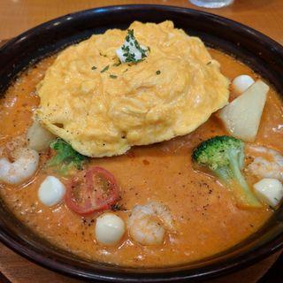 海老とモッツァレラチーズのトマトクリームオムライスドリア(卵と私 新大阪店 )