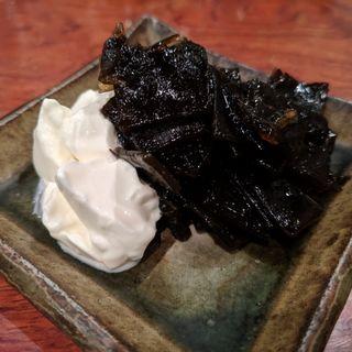 羅臼昆布の佃煮、マスカルポーネチーズ(海おでん「日本酒はなたれ」)