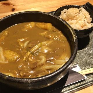 カレーうどん+炊き込み御飯(千 (せん))