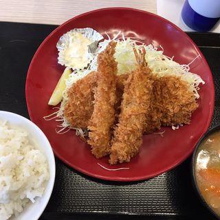 海老・ロースカツ定食(かつ屋 太宰府大佐野店)