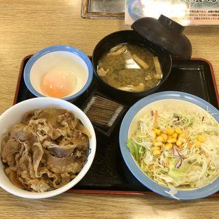 プレミアム牛めし生野菜半熟玉子セット(松屋 平和台店 )