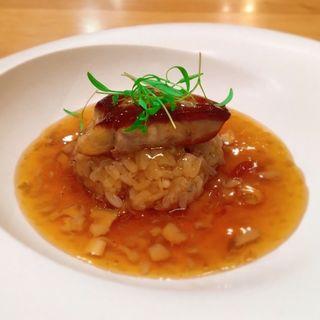 ポルチーニ茸の飯蒸とフォアグラのソテー(びすとろD)