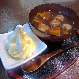 そばがき汁粉(そば正五郎 道の駅分店)