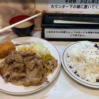 ポークからし焼肉ランチ カニコロッケ(洋庖丁 高田馬場店 (ヨウボウチョウ))