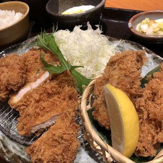 広島の牡蠣フライとロース・ヒレかつ膳(かつアンドかつ 伊丹大鹿店 )