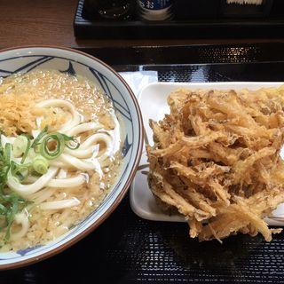 かけうどん(大)・かき揚げ・おにぎり(丸亀製麺 筑後店)