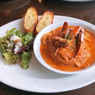 渡り蟹のトマトクリームスパゲティ(レストランDON 秋谷店)