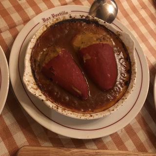 ピキージョピーマンの牛ホホ肉とポルチーニクリームの詰め物(バル ポルティージョ デ サルイアモール)