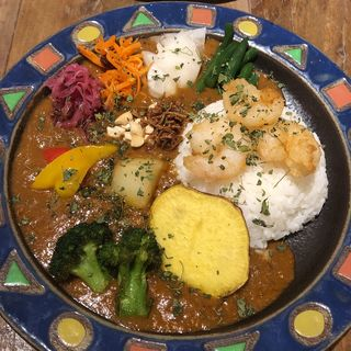 エビカレー(温泉卵・ブロッコリー トッピング)(Mikazuki curry SAMURAI. 下北沢店)