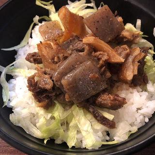 牛スジ丼+ミニかすうどん(加寿屋 ヴィアあべのウォーク店 )