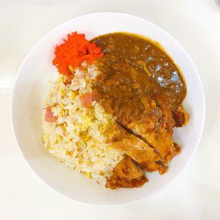 炒飯カレー(牛すじカレーに変更、豚からあげトッピング)(松家カレー )