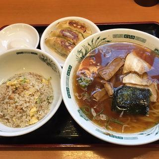 中華そば+半チャ+餃子3個セット(日高屋 千葉富士見店 )