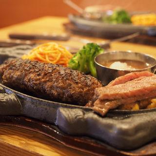 炭火焼A5ランク黒毛和牛の粗びきハンバーグ×A5ランクサーロインステーキ(デル・ソーレ 道頓堀 )