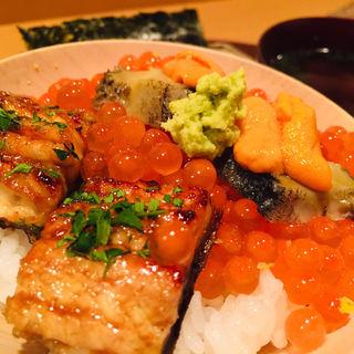 バフン雲丹、いくら、熟成海うなぎ、黒あわびご飯(料理 澤)