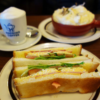 ハムと野菜と玉子のトーストサンド(星乃珈琲 福岡早良店)