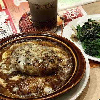 ハンバーグカレードリア(ほうれん草とベーコンのソテー/ドリンクバー付けて)(デニーズ 秋葉原店 (Denny's))