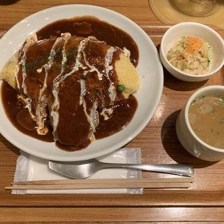 Cランチ  オムハヤシ+ハンバーグ(陽だまり食堂 )