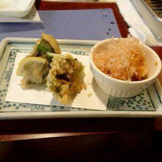 かきピーマンと帆立貝の天ぷら(天ぷら新宿つな八 総本店 )