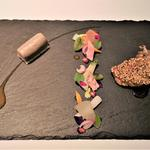 鶉胸肉のロティとコンディマン  股肉のコンフィとフォアグラ 梅のヴィネグレットと木の実香るジュ(ル ポン ド シエル (LE PONT DE CIEL))