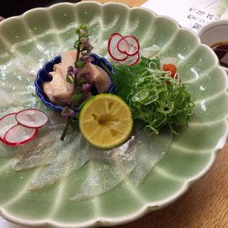 カワハギ薄造り(食べ菜 なんば )