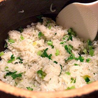 青菜としらすの土鍋ごはん 1合(夜ノ焼魚 ちょーちょむすび)