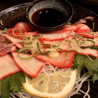 クジラ刺身の生姜醤油(稀鳥屋)