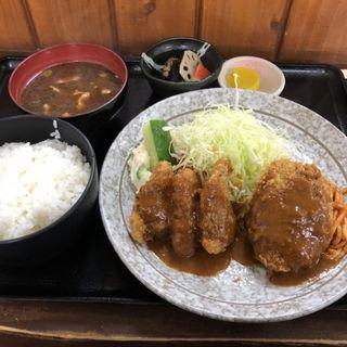 一口かつ・ミンチカツ盛り合わせ定食(とんかつ本田 )