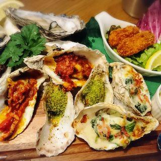 4種類の牡蠣づくしコンボ(貝殻荘 飯田橋サクラテラス店 )